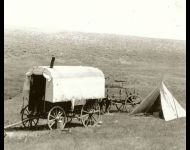Sheepwagon and herders tepee